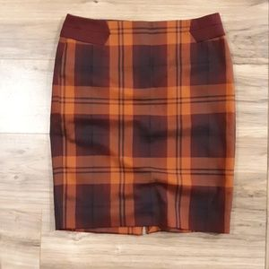 The Limited Orange and Maroon Pencil Skirt. Size 8